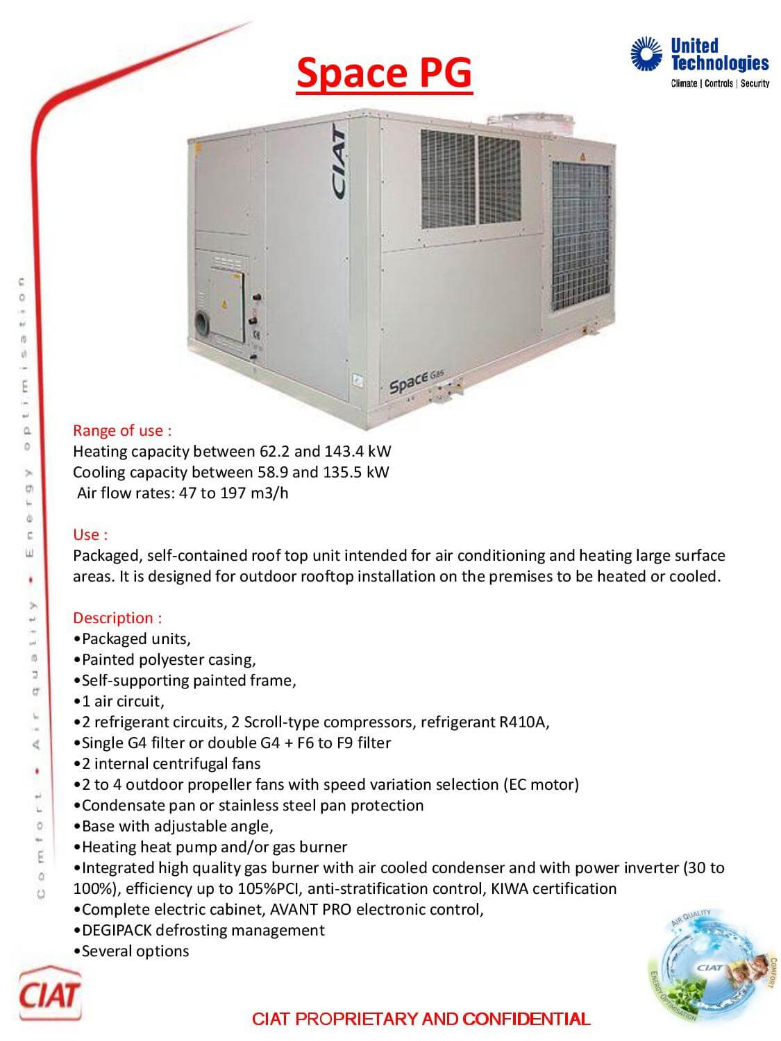 Space Roof Top Pg Ciat Air Conditioning And Heating